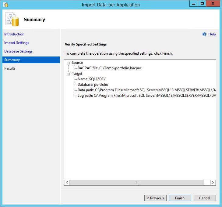 Import BACPAC - Dialog Box 3