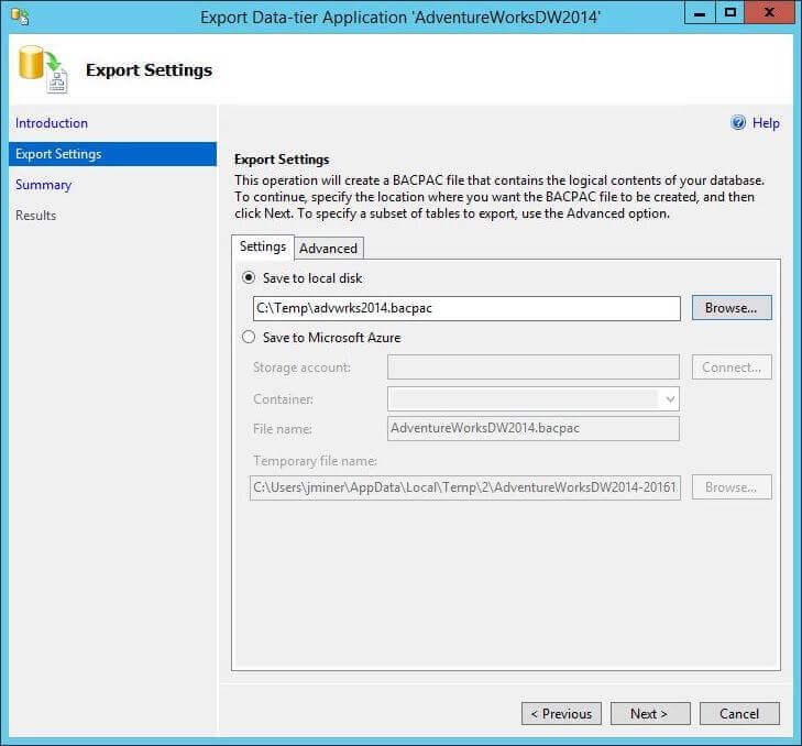 Export BACPAC - Dialog Box 1