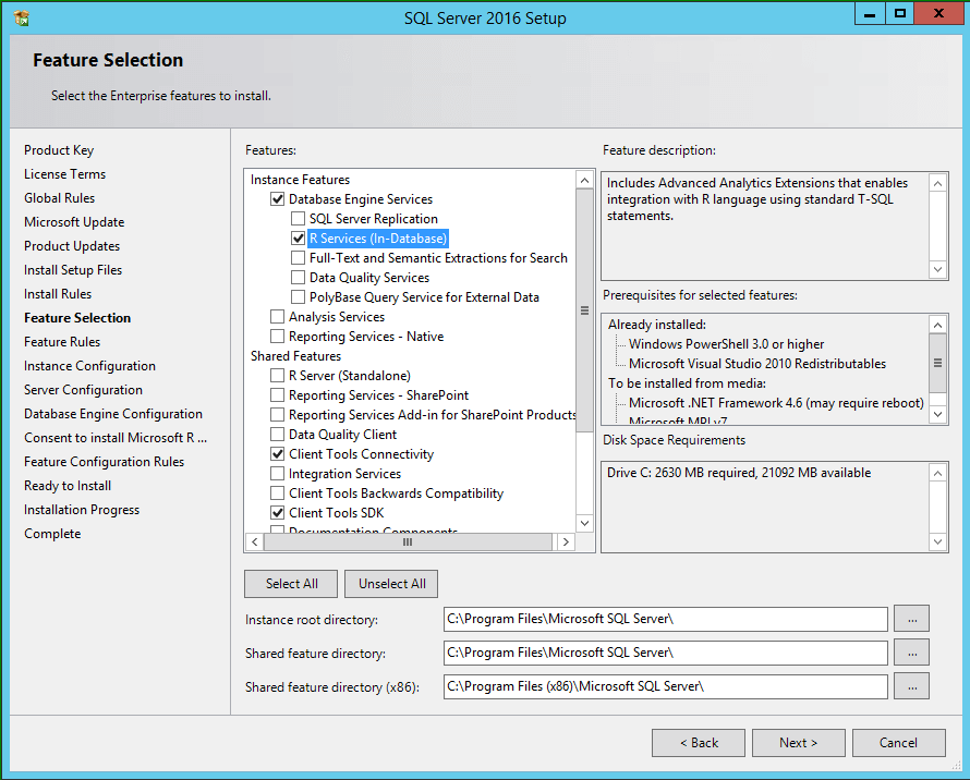 SQL Server 2016 Setup Features Selection
