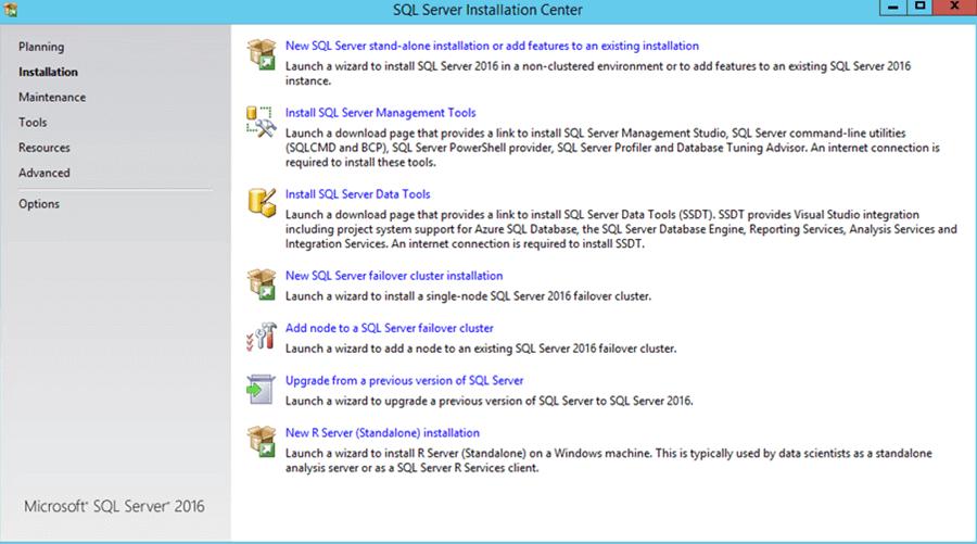 SQL Server 2016 setup screen