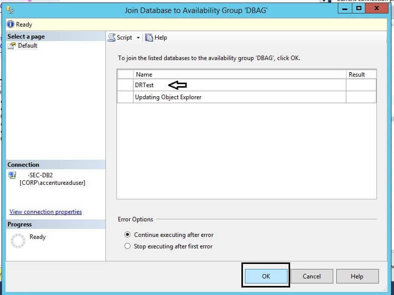 join Database to Availability Group window