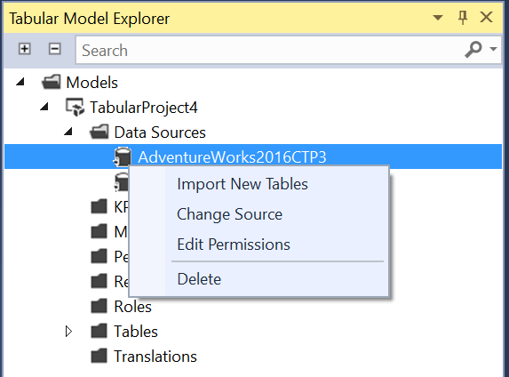 Import New Tables in SQL Server Data Tools for Analysis Services