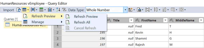 Refresh Preview Option in SQL Server Data Tools for Analysis Services