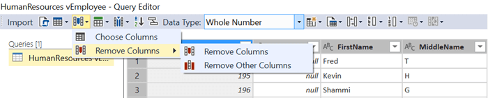 Remove Columns Options in SQL Server Data Tools for Analysis Services