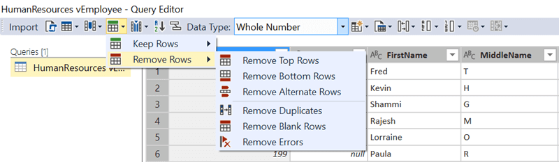 Remove Rows Options in SQL Server Data Tools for Analysis Services