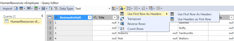 First Row as Header Option in SQL Server Data Tools for Analysis Services