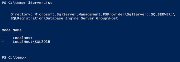 "load all of those Registered SQL Servers into a PowerShell variable called ""$ServerList"""