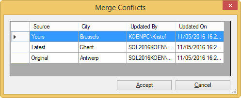 merge conflicts in Master Data Services 2016