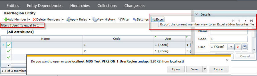 saving query file in Master Data Services 2016