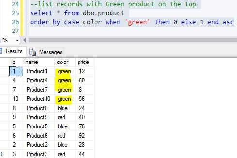Order the green records first with the ORDER BY clause in SQL Server