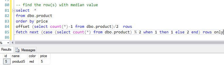 Calculate the median value in SQL Server with Offset and Fetch