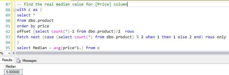 Calculate the median value with a SQL Server CTE