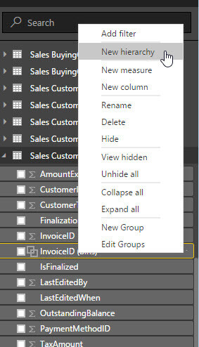 New Hierarchy in Power BI