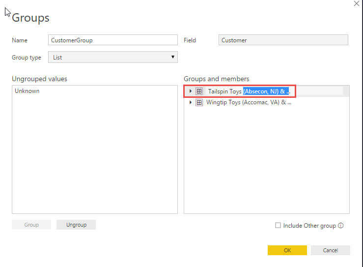 Ranme Group in Groups Interface in Power BI