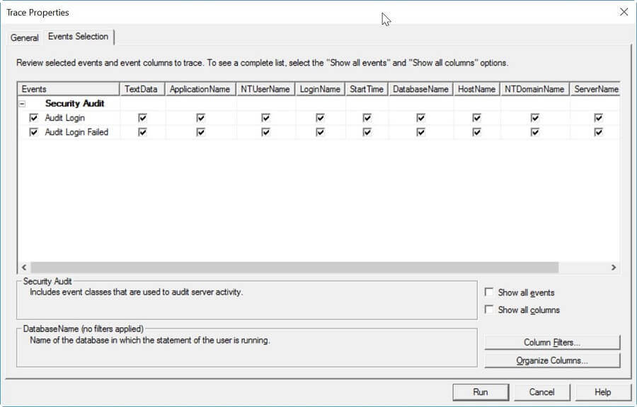 Events Selection for SQL Server Trace Setup