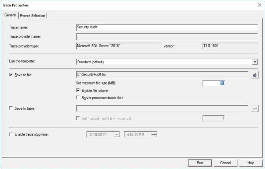 General Tab for SQL Server Trace Setup