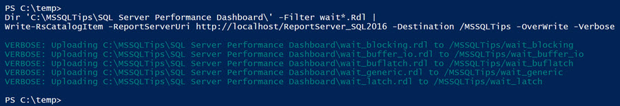 filter the list of .rdl files in the directory, and only have it send the reports that begin with the word wait to the Write-RsCatalogItem command