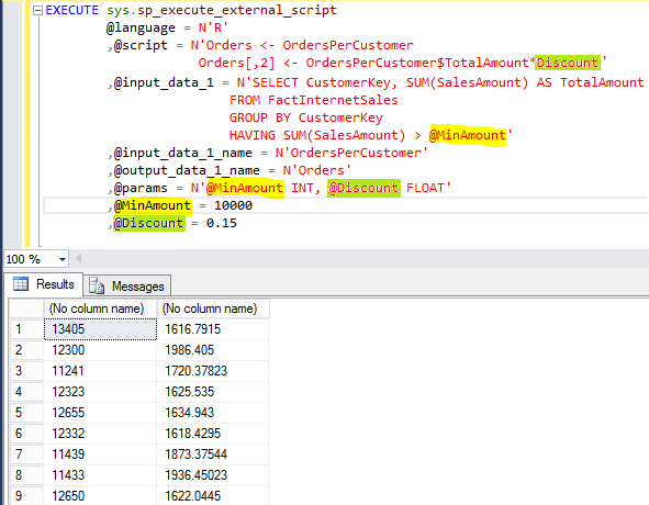 Parameters example for the sp_execute_external_script stored procedure