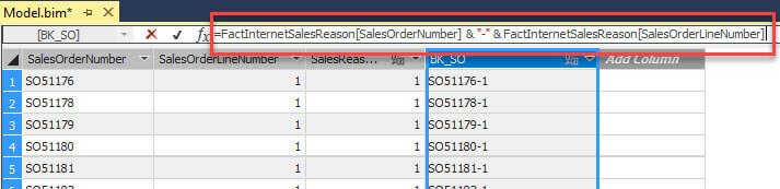 sales order header and line numbers are concatenated together using calculated columns in the fact table and bridge table