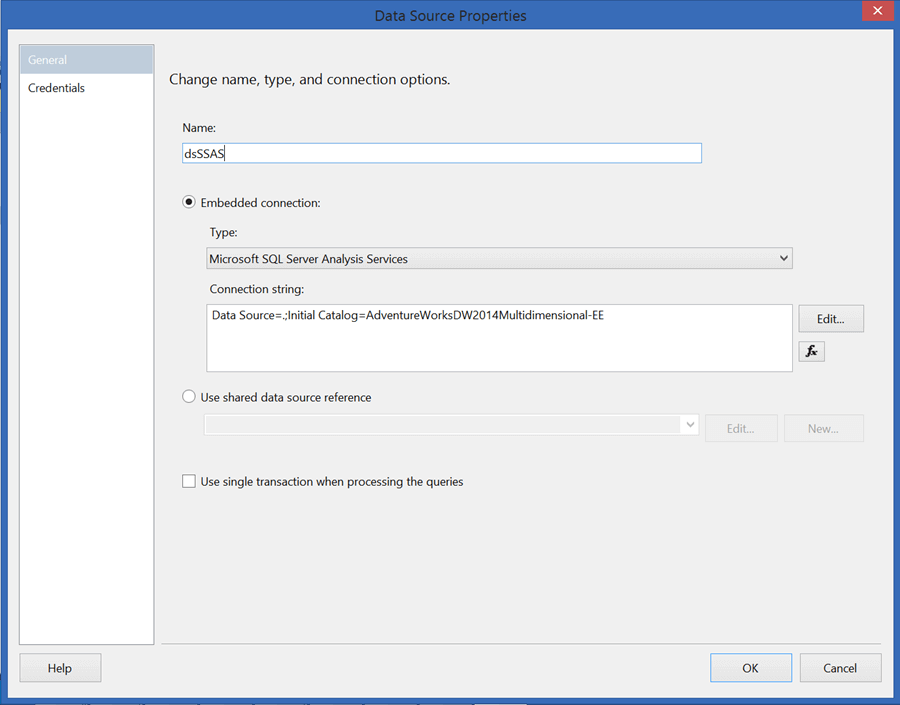 Configure the data source to connect to your SSAS database