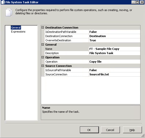 SSIS Package File System Task Configuration