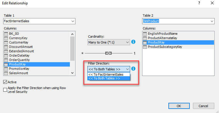 change Filter Direction to Both Tables