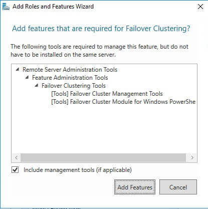 Add features that are required for Failover Clustering