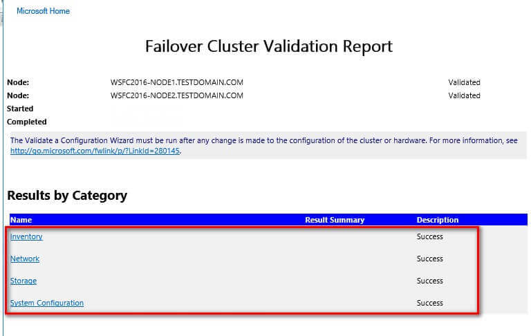 Failover Cluster Validation Report