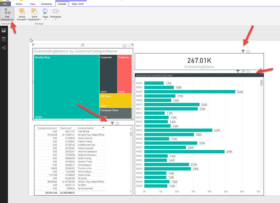 Power BI Visual Interactions