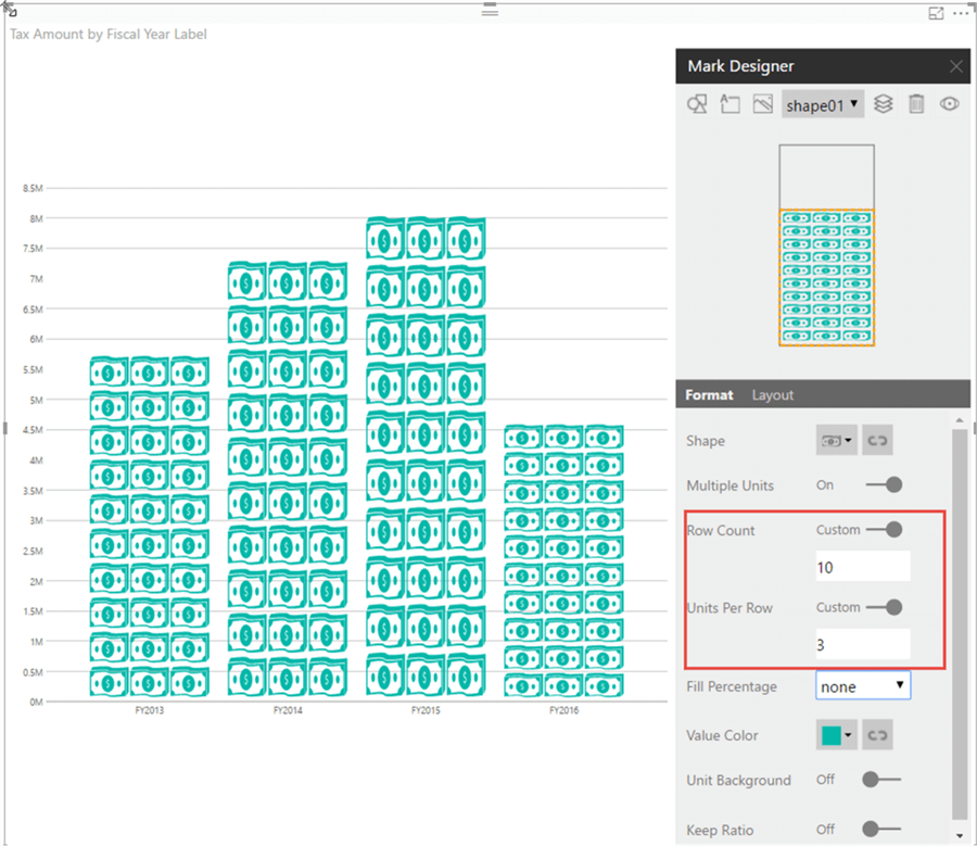 Row Count on Visual - Description: Change row count and units per row on visual