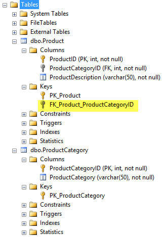 ssms object explorer show foreign keys