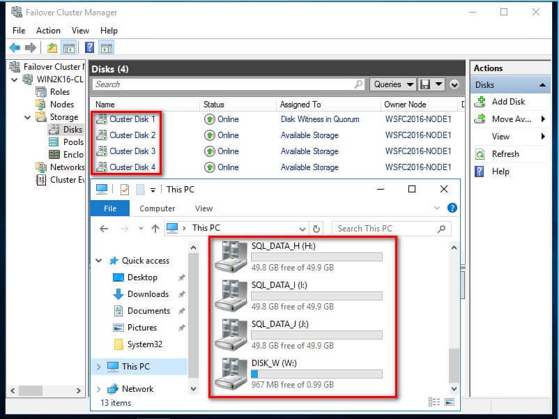 Rename Cluster Disks in the Failover Cluster Manager