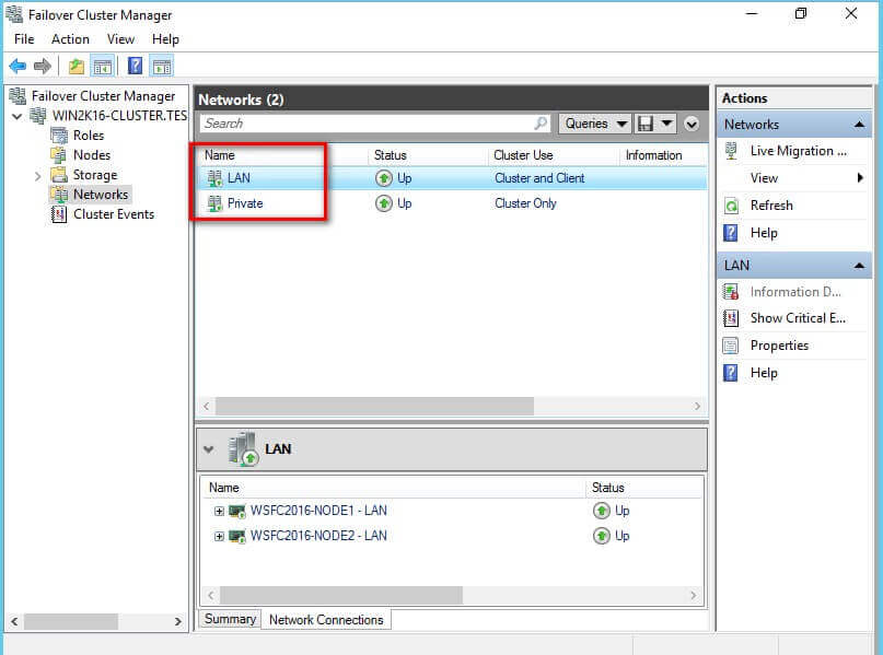 Final Networks in the Failover Cluster Manager