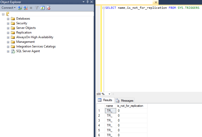 check the not for replciation property of SQL Server triggers