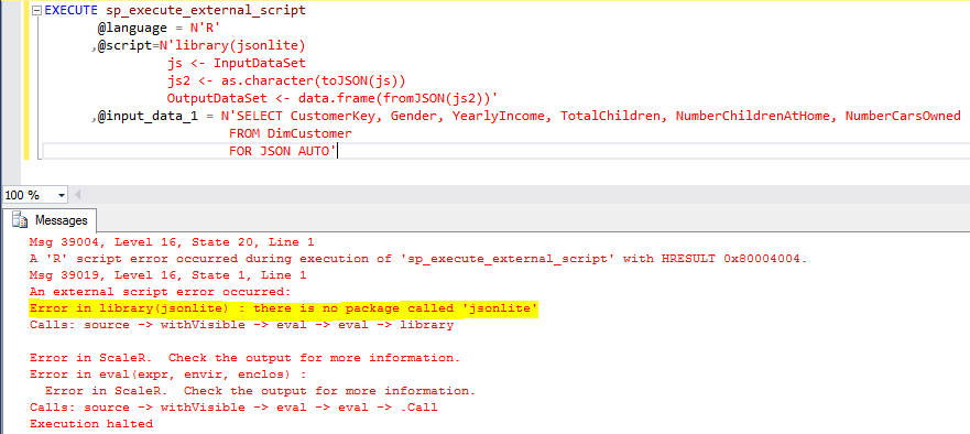 Error No Package Installed for R Services