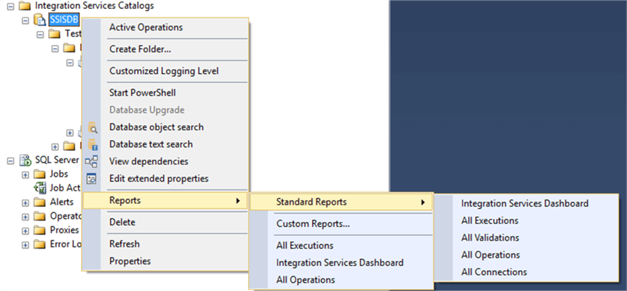 ssis catalog reports context menu