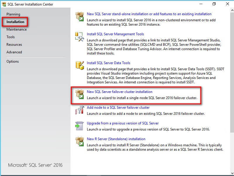 New SQL Server failover cluster installation