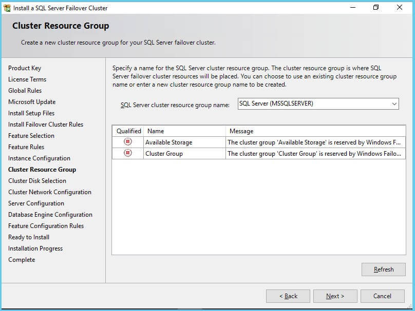 SQL Server Failover Cluster cluster resource group