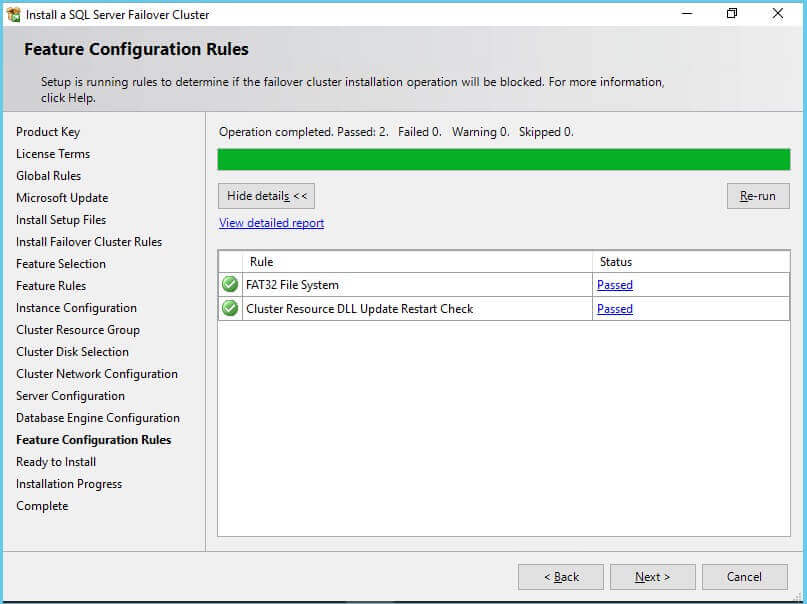 SQL Server Failover Cluster feature configuration rules