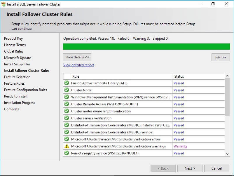 SQL Server Failover Cluster rules