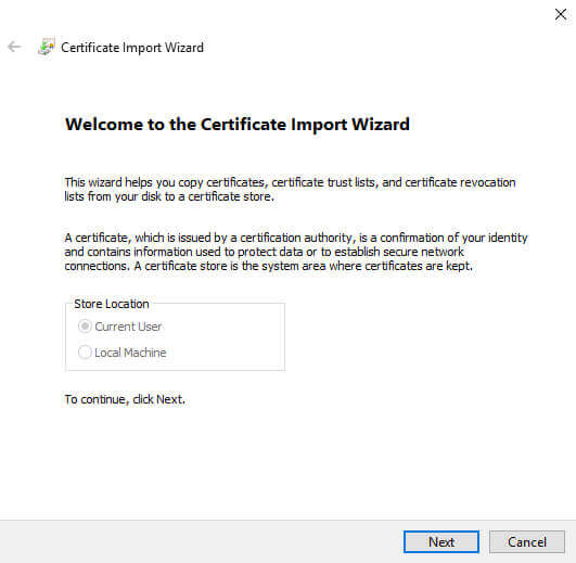 Certificate Manager Import Wizard