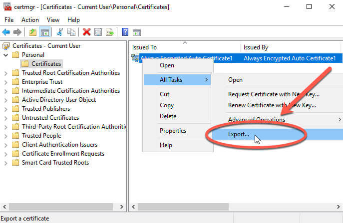 Certificate Manager Export