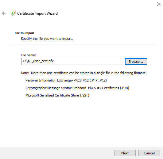 Certificate Manager Import File
