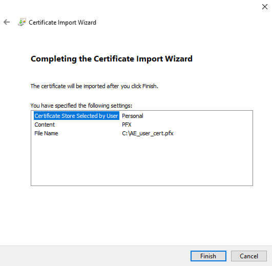 Certificate Manager Import Finish