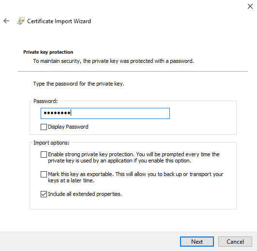 Certificate Manager Import File password