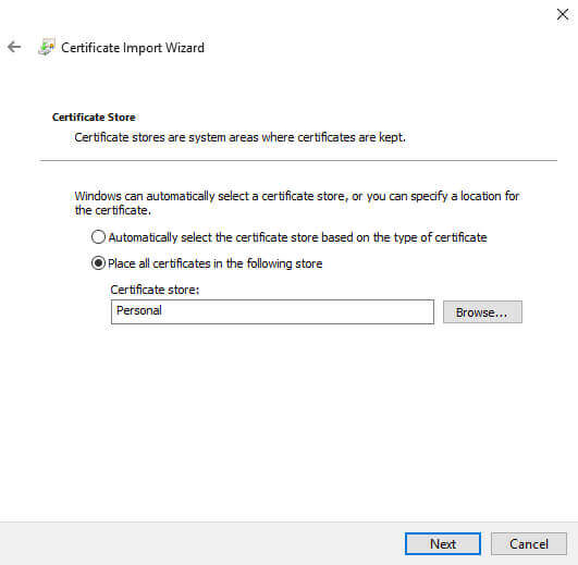 Certificate Manager Import certificate store
