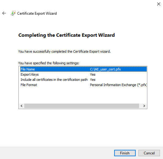 Certificate Manager Export Wizard Finish