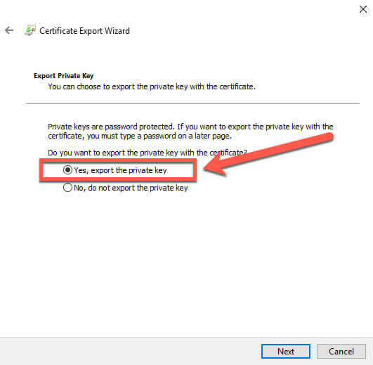 Certificate Manager Export Wizard private key