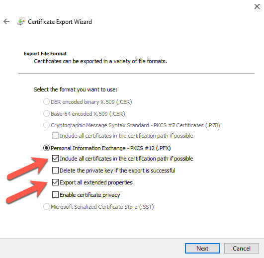 Certificate Manager Export Wizard file format options