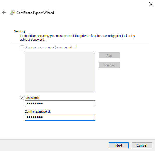 Certificate Manager Export Wizard file password